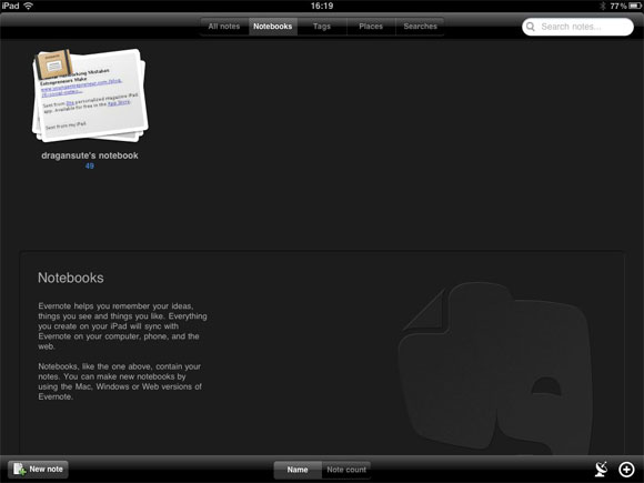 Evernote за iPad