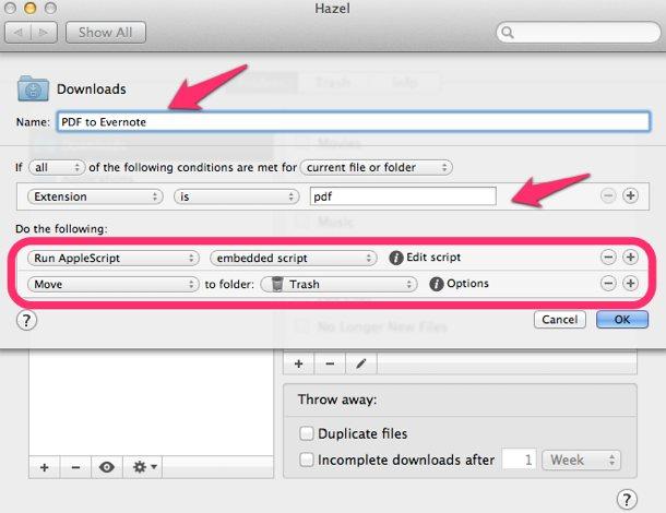 Hazel pdf-evernote автоматизација