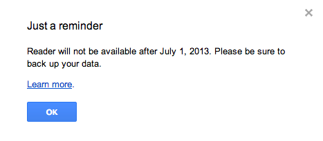 Збогум Google Reader!